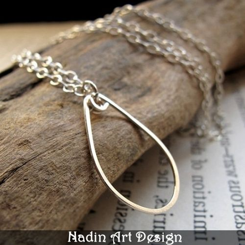 Sterling Silber TearDrop Halskette von NadinArtDesign auf DaWanda.com