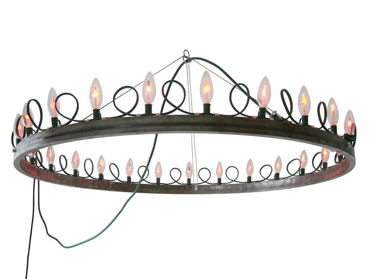 Arthur. One of a kind. Steel ring, Flicker Flame bulbs, string of lights, extension cord, aircraft cable, hardware. #oscarandkennedy