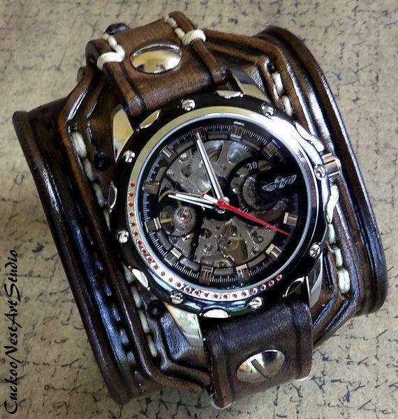 Steampunk Leather Wrist Watch, Skeleton Men's watch, Leather Cuff, Bracelet Watch, Watch Cuff, Mens Gift, Mechanical, Brown
