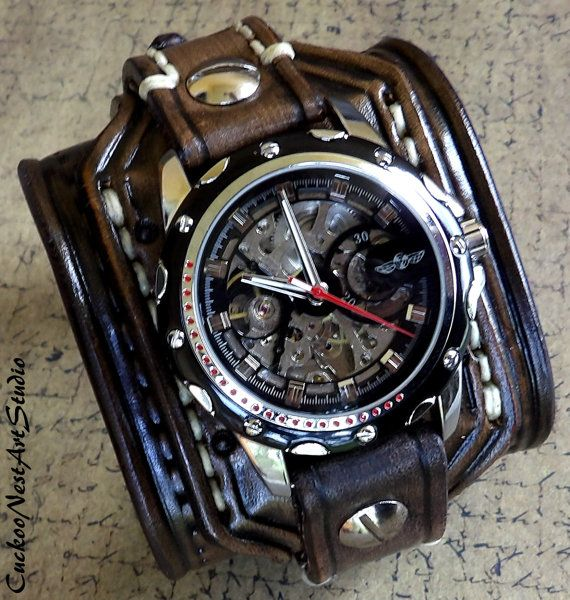 25 best ideas about mens watches leather nice mens steampunk leather wrist watch skeleton men s watch leather cuff bracelet watch watch