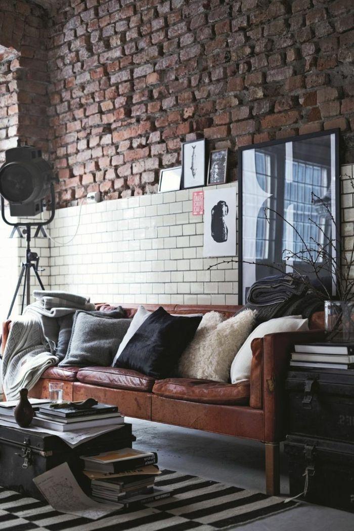 paredes decoradas, salón en estilo industrial con panel de ladrillo
