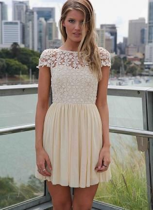 Cream Embroidered Lace Top Dress