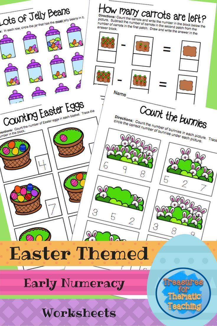 Easter Themed Early Numeracy Math Worksheets Great For Pre K And Kindergarten Worksheets Focu Easter Math Math Worksheets Kindergarten Math Worksheets Free [ 1102 x 735 Pixel ]
