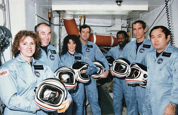 """On Jan. 28, 1986, NASA faced its first shuttle disaster, the loss of the Challenger orbiter and its seven-astronaut crew. They are (L to R) Teacher in Space Participant, Sharon """"Christa"""" McAuliffe, Payload Specialist, Gregory Jarvis, Mission Specialist, Judy Resnik, Commander Dick Scobee. Mission Specialist, Ronald McNair, Pilot, Michael Smith and Mission Specialist, Ellison Onizuka."""