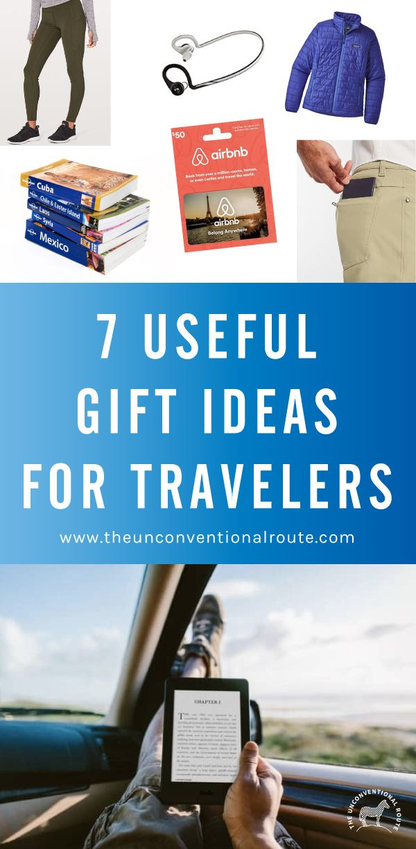 Not sure what to buy that special-someone who always seems to be on the road? Check out our list of gifts that they'll actually be able to pack in their carry-on. www.theunconventionalroute.com #traveler #backpacker #travelgiftideas #giftideas #backpacking #patagonia #airbnb #lululemon #lonelyplanet