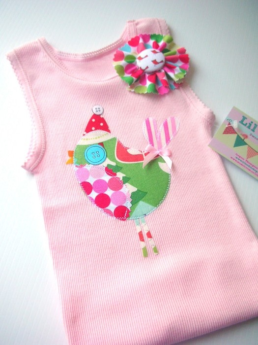 Christmas Birdie Baby Singlet Girls Lil Design