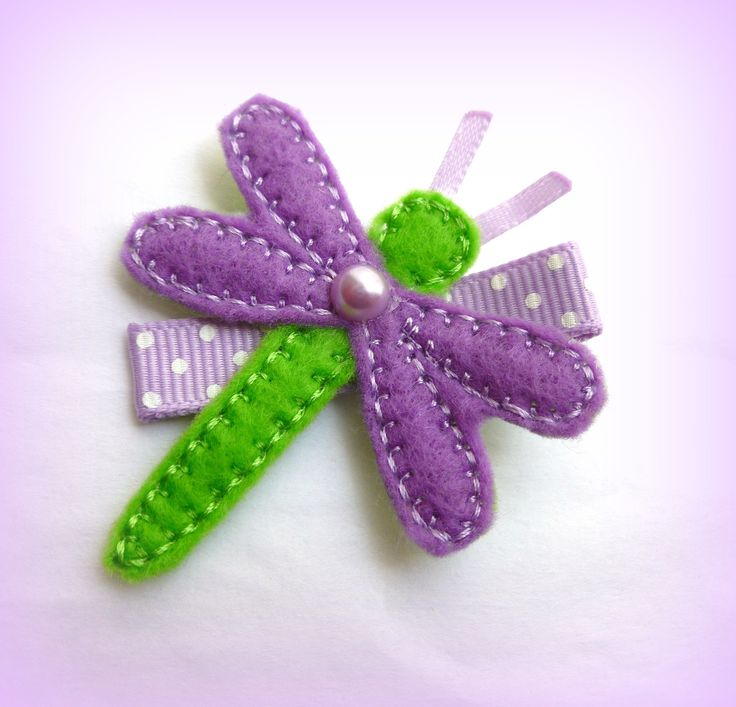 Purple and Green Felt DragonFly on Alligator Clip - Butterfly Hair Clip - Embroidered Felt. $3.00, via Etsy.