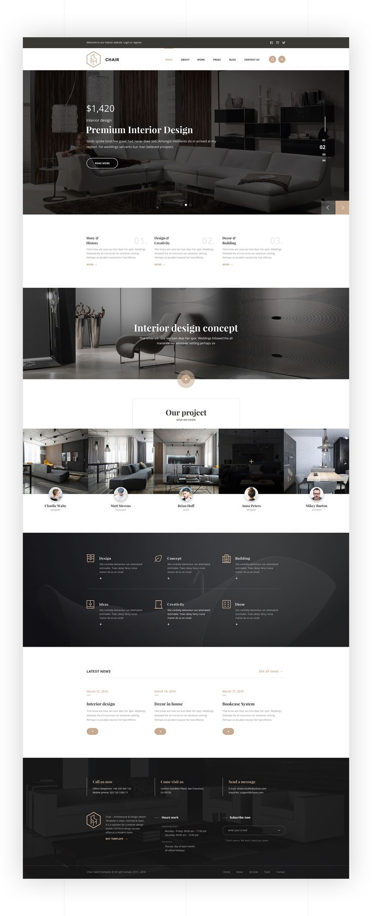 Chair is a pixel perfect and creative web site for Interior Design &…