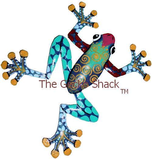 20cm metal garden Frog Art colourful - Home & Garden Wall Decor or Deck Ornament FC-2