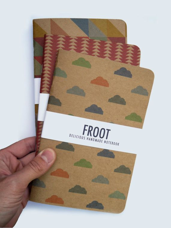CHOOSE ANY DESIGN 3 x Pattern Notebook Journal Kraft A5 Handmade Recycled / Chevron / Triangle / Cubes / Clouds / Geometric