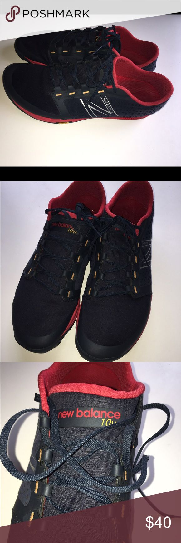 Men's New Balance Minimus shoe size 12 Men's New Balance Minimus shoe size 12 color navy blue red and yellow in very good condition! New Balance Shoes Athletic Shoes