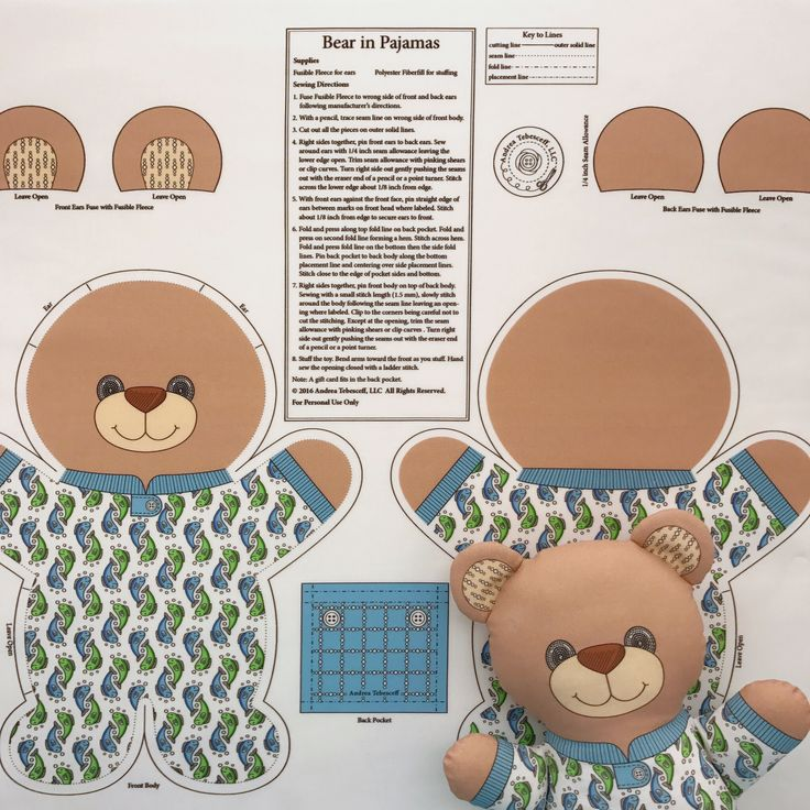 "You already know that ""Bear in Pajamas"" is my favorite Pajama Animal Toy because I use him for my profile photo. I always have my Cut and Sew fabric panels printed on Kona Cotton. This fabric makes wonderful soft toys. You cut, sew, and stuff ""Bear in Pajamas"" following the directions. The finished toy will measure about 11 inches tall. All my Cut and Sew fabric panels are available in my Spoonflower shop. Link in Profile."
