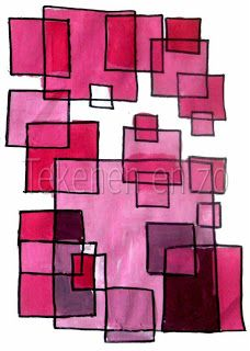 geometrische figuren/ overlappingen/ één kleur in verschillende tinten