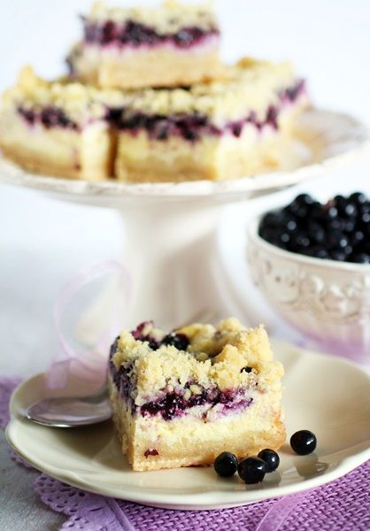 Blueberry cream cheese cake with crumble.