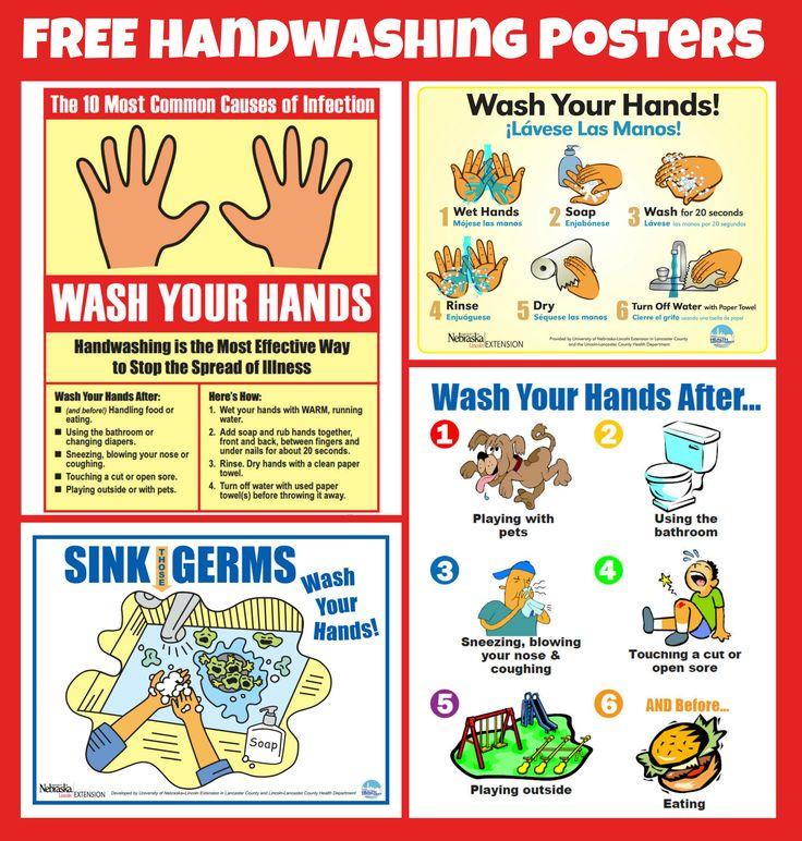 Handwashing Hand washing poster, School nurse posters
