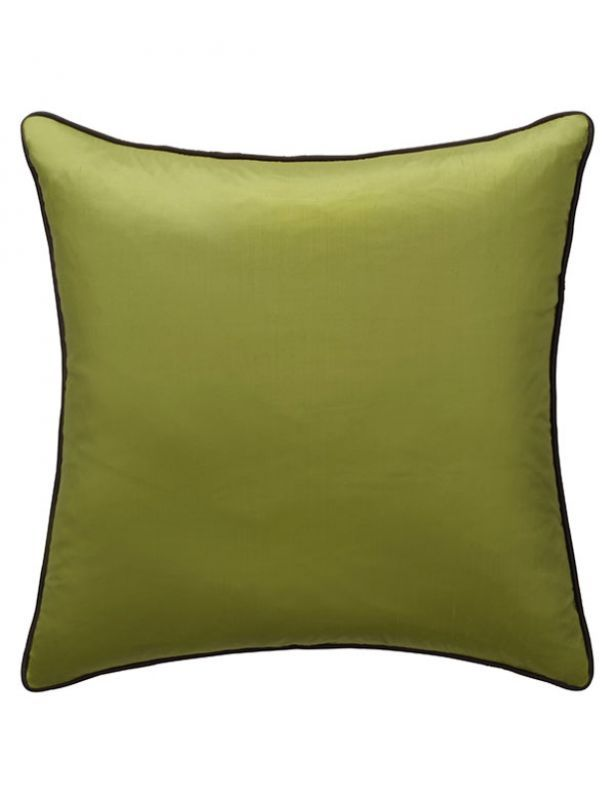 Markham Lime Cushion with Chocolate Piping. Cojín Markham lima con ribete en chocolate. Cojines: Collection Cushions - Andrew Martin