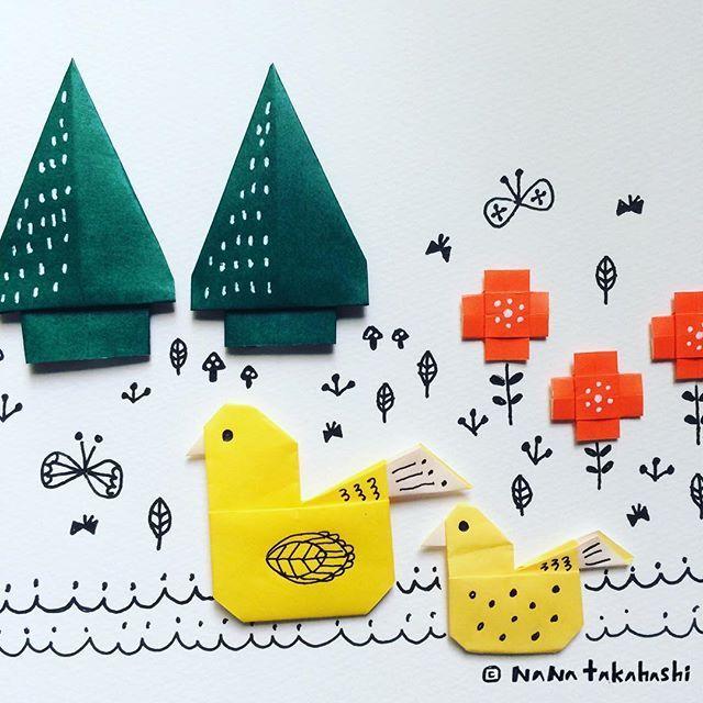 アヒルのミズウミ Ducks on the lake. #origami  #illustration  #papercraft #paperflower  #tree #duck  #nanatakahashi #おりがみ  #折り紙 #イラスト #ペーパークラフト #お花 #あひる #木  #たかはしなな #白鳥の湖  がバックにながれてる