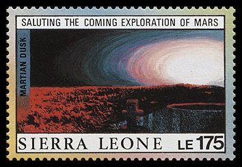 """Исследования Марса (марка Сьерра-Леоне, 1990 г., фотография солнечного заката, сделанная """"Viking I"""" 20 августа 1976 года:)"""