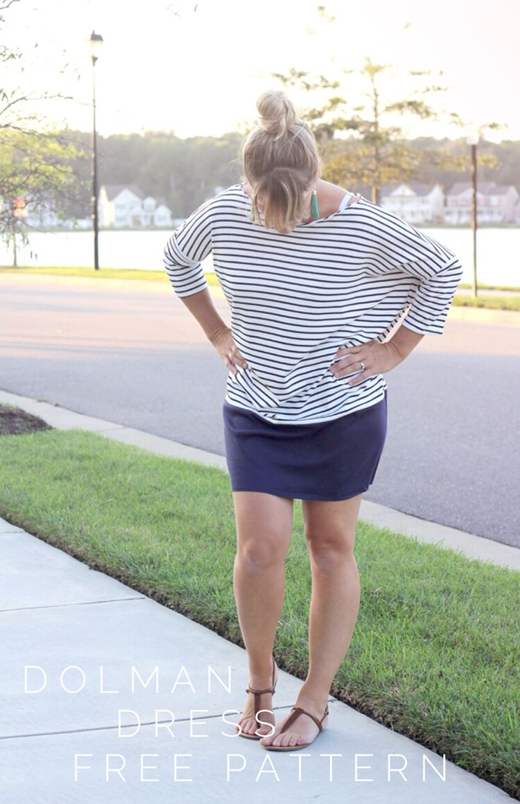 How to sew a women's Dolman Dress, with Free Pattern. #summer #sewing #dress