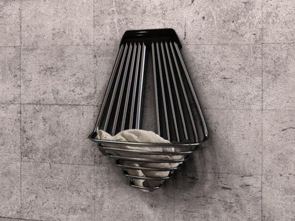 Basket-shaped heater doubles as towel rack