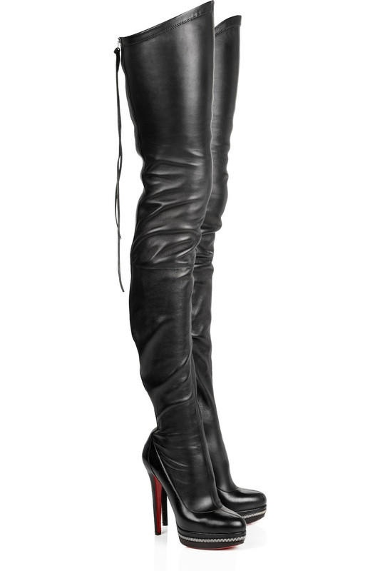 5e9cea89045 ... christian louboutin Babel platform knee-high boots Black leather  pointed toes ...