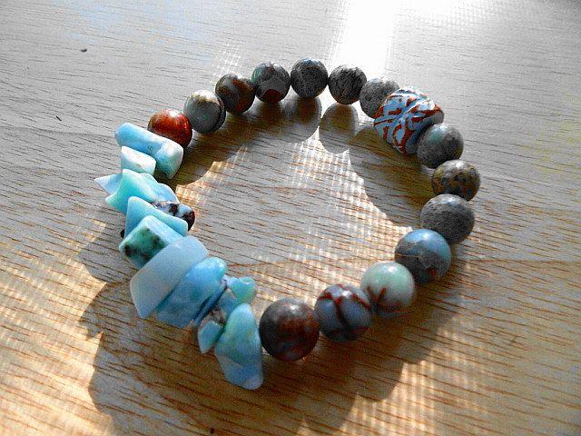 Dominican Larimar Snake Skin Jasper Pueblo Ceramic Bead Stretch Bracelet by StonyMaronyJewelry on Etsy