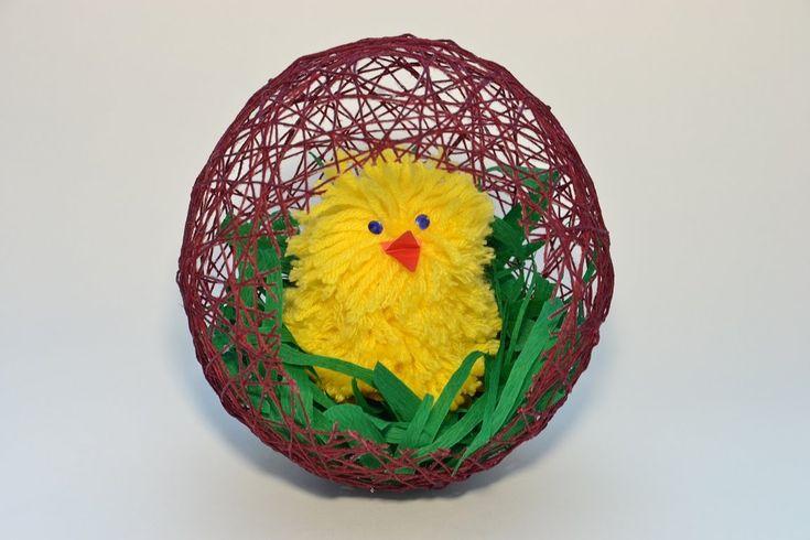 Яйцо и цыплёнок из ниток. Подарок на Пасху. Подарок к Пасхе. Пасхальный ...