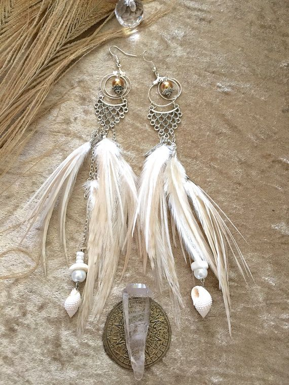 White layered wedding feathered earrings with by nateahstudios