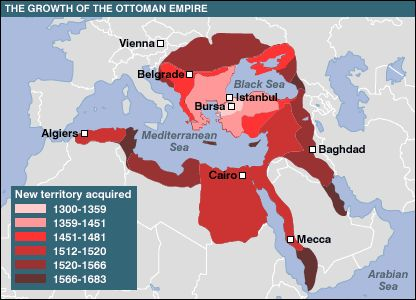 Historical Map of the Ottoman Empire - a Muslim Empire that lasted from 1299 to 1922 and controlled Southeast Europe, Southwest Asia, and North Africa.