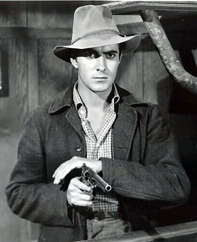 JESSE JAMES (1939) - Tyrone Power as 'Jesse James' - Directed by Henry King - 20th Century-Fox - Publicity Still.