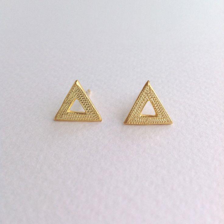 επίχρυσα σκουλαρίκια τρίγωνα