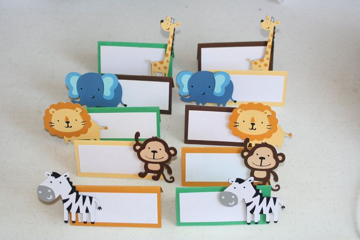 12  Jungle or Safari Animal Place Cards Food Cards Labels, zoo birthday, food cards, food labels, safari party. $15.00, via Etsy.