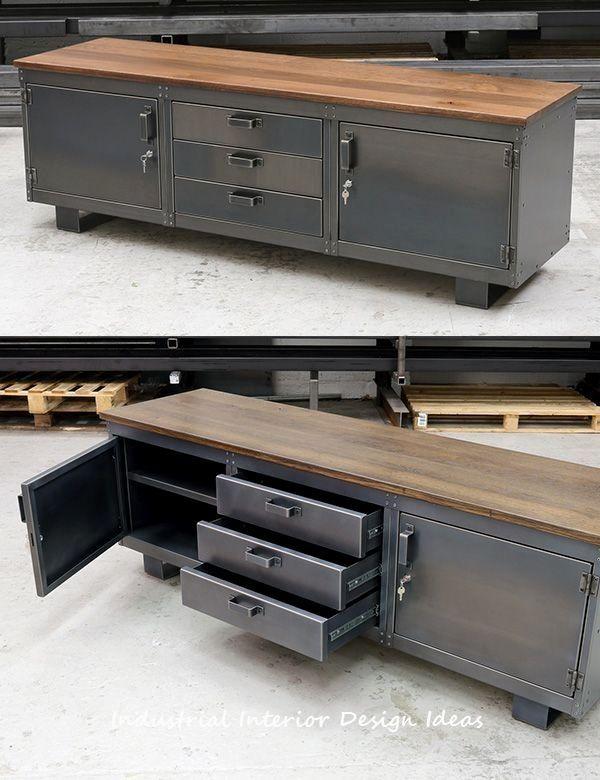 Diy New Industrial Interior Design Ideas Design Mobilier Metallique Meuble Fer Et Bois Meuble Bois Metal