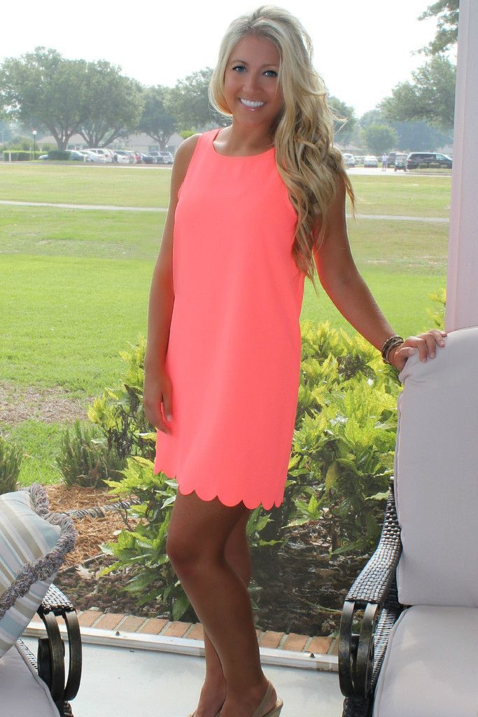 scallop dress. I love this, but would prefer a color that was less neon since I have such fair skin.