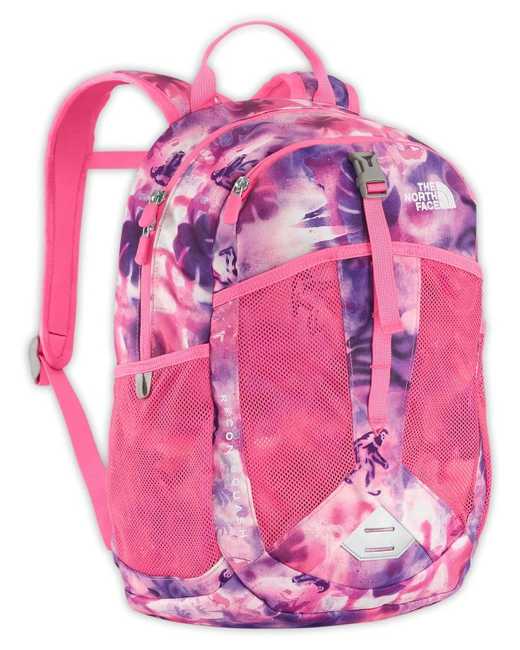 The North Face Youth Recon Squash Cha Cha Pink Graffiti Mash Print. External zippered pocket for smaller trinkets and treasures. Comfortable, stitched-foam back panel. Mesh water bottle pockets can double as treasure keepers. Reflective bike-light loop. Breakaway sternum straps designed specifically for kids.