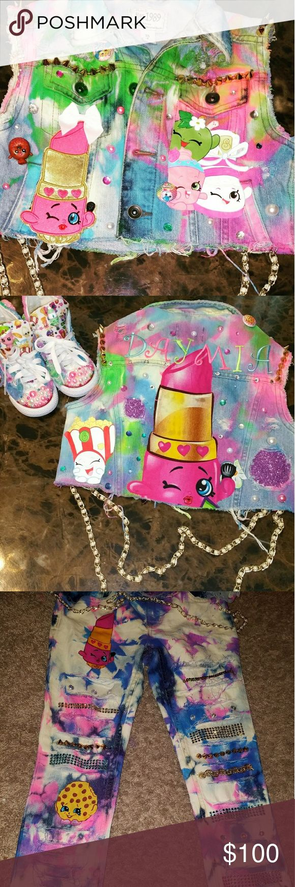 Shopkins outfits Your child will be the life of the party with a custom shopkins outfit! This listing is for vest with name and bottoms ONLY. All outfits are made to order. Pleaae check out my face book page solabad creations. This listing is for sizes 5t to size 10 kids Matching Sets