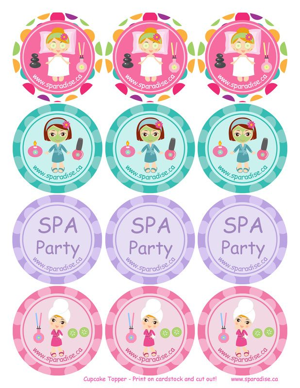 Free Printable Spa Party Cupcake Toppers by SPAradise Mobile Spa