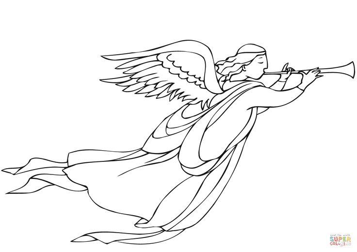 Ángel de Navidad con trompeta Dibujo para colorear. Categorías: Ángeles de Navidad. Páginas para imprimir y colorear gratis de una gran variedad de temas, que puedes imprimir y colorear.