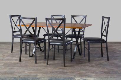 Baxton Studio Rexroth Wood and Metal 7-Piece Contemporary Dining Set