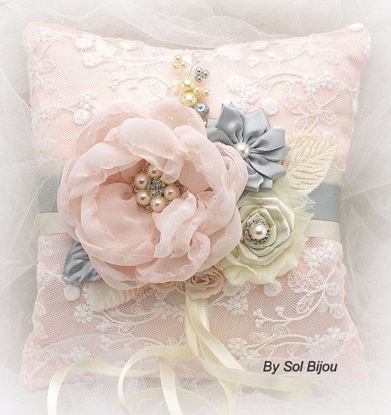 Ring Bearer Pillow Bridal Pillow Wedding Pillow in Ivory, Soft Peach and Light Gray with Lace and Pearls
