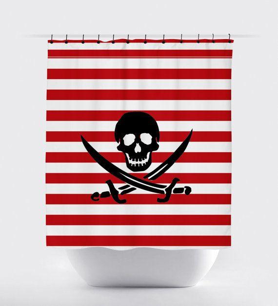 pirate striped shower curtain skull shower by PrintArtShoppe