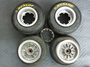 Rupp Dart Vintage Go Kart Rims and Dunlop Bridgestone Slicks Tires