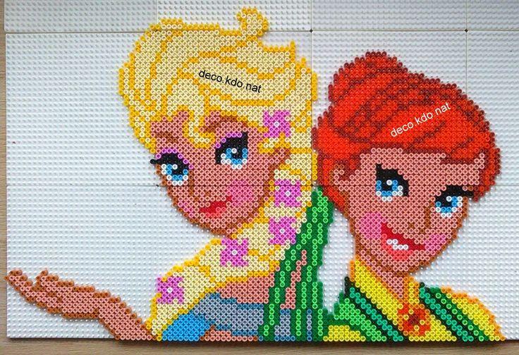 Elsa and Anna - Frozen Fever   hama perler beads by Deco.Kdo.Nat - Pattern: https://www.pinterest.com/pin/374291419008076794/