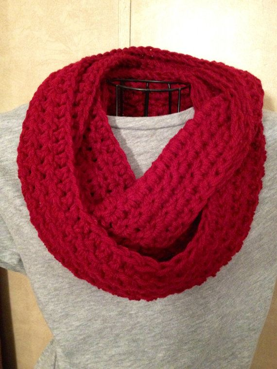 Crocheted winter Infinity Scarf Deep by HookYarnStitches on Etsy, $15.00