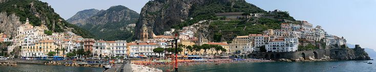 Panoramic view of the town of Amalfi seen from the pier with the Amalfi Cathedral in the center. #italy