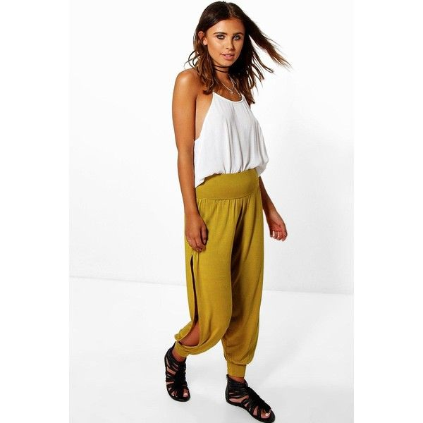 Boohoo Petite Petite Tel Basic Jersey Split Side Hareem Trousers ($20) ❤ liked on Polyvore featuring pants, olive, petite pants, olive green pants, basic white t shirt, wide-leg trousers and palazzo pants