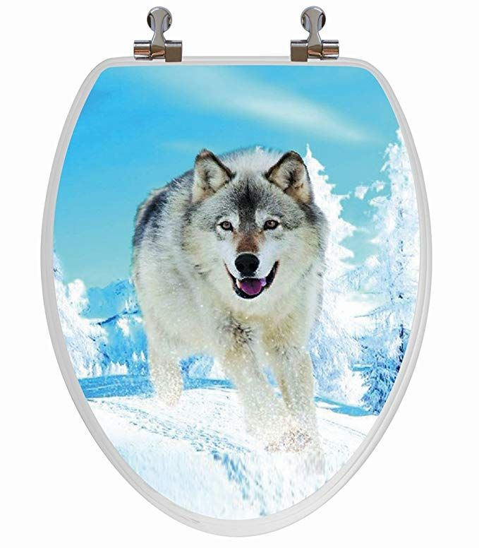 Topseat 3d Toilet Seat W Chromed Metal Hinges Wood Snow Wolf Elongated Review Snow Wolf Toilet Seat Potty Toilet Seat