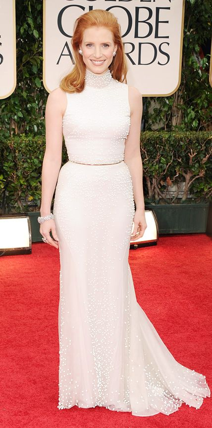 The First Time the 2015 Golden Globes Nominees Hit the Red Carpet - Jessica Chastain, 2012 from #InStyle