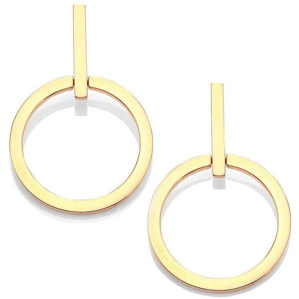 """Vita Fede Antonia Hoop Earrings/1.5"""" found on Polyvore featuring jewelry, earrings, apparel & accessories, rose gold, rose gold tone earrings, hoop earrings, vita fede, 24 karat gold earrings and 24k jewelry"""