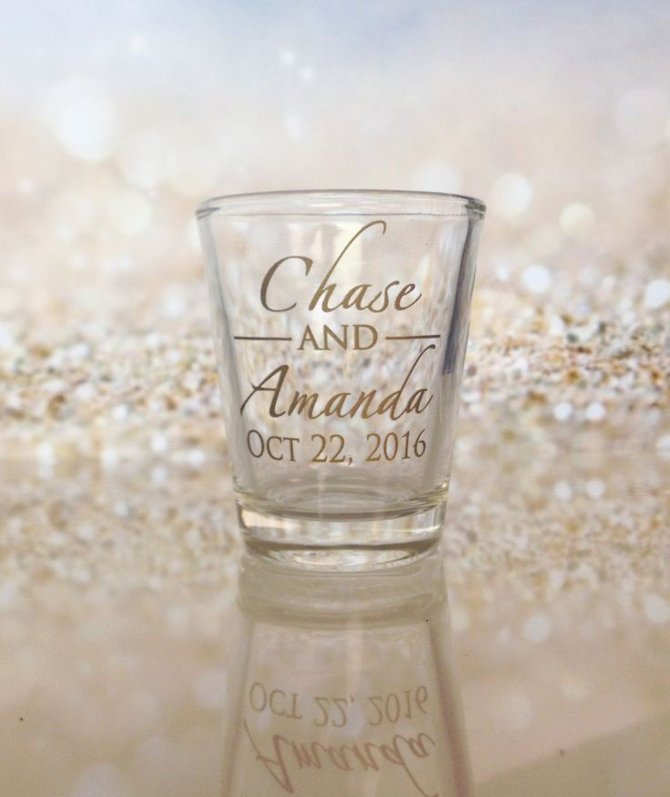 Wedding Favors Shot Glasses Custom Names Monogram New 2017 2018 Design Personalized Glass Wedding Favor Ideas Factory 21 by Factory21 on Etsy